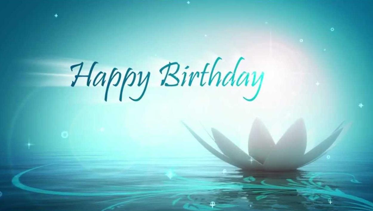 Открытка с днем рождения с лотосом